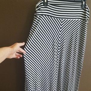 Black and White stripes maxi skirt